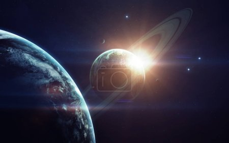 Photo pour Deep space imagination, planets, stars and galaxies in endless universe Elements of this image furnished by NASA - image libre de droit