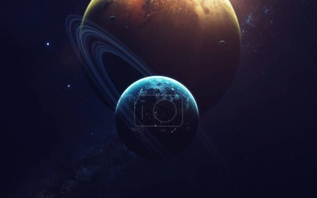 Foto de Deep space imagination, planets, stars and galaxies in endless universe Elements of this image furnished by NASA - Imagen libre de derechos
