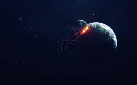 Photo pour Explosion de planète. apocalypse. Fin du temps. Art de science-fiction. Beauté de l'espace profond. Éléments de cette image fournis par la Nasa - image libre de droit
