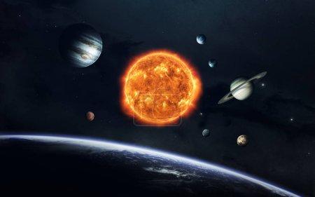 Foto de Tierra, Marte y otros. Fondo de pantalla espacial de ciencia ficción, planetas increíblemente hermosos del sistema solar. Elementos de esta imagen amueblada por la Nasa - Imagen libre de derechos