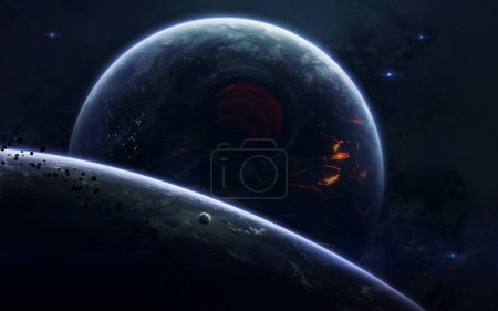 Photo for Science fiction space wallpaper, incredibly beautiful planets, galaxies, dark and cold beauty of endless universe. Elements of this image furnished by NASA - Royalty Free Image