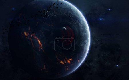 Photo pour Fond d'écran de science fiction espace incroyablement belles planètes, galaxies, beauté sombre et froide de l'univers sans fin. Éléments de cette image fournie par la Nasa - image libre de droit