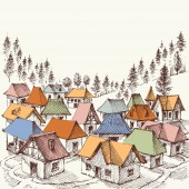 Alpine resort hand drawing A vilage in the mountains vector