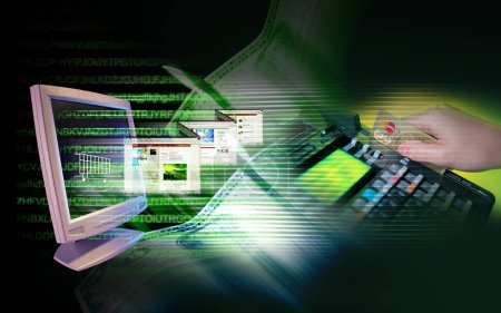Photo pour Un arrière-plan numérique coloré pour un thème de navigation sur Internet - image libre de droit