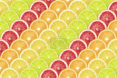 Photo pour Différentes bandes diagonales d'agrumes faites à partir de nombreuses tranches mûres - image libre de droit