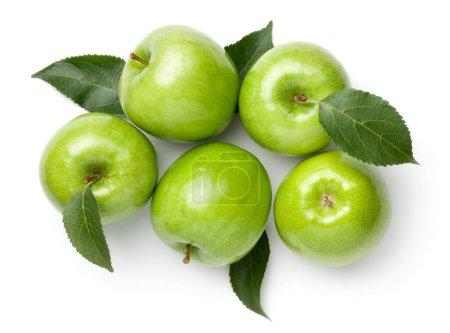 Photo pour Granny smith pommes avec des feuilles isolées sur fond blanc. Pomme verte. Pose plate. Vue du dessus - image libre de droit