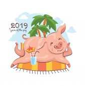 2019 New Year greeting card with cute pig which enjoys a summer vacation Vector illustration
