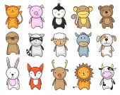 Simple and childish drawing of cute toy animals for kids