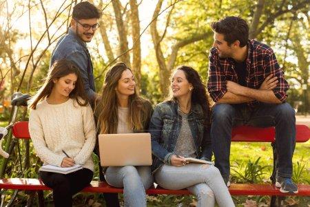 Photo pour Groupe d'amis dans le parc s'amuser ensemble - image libre de droit