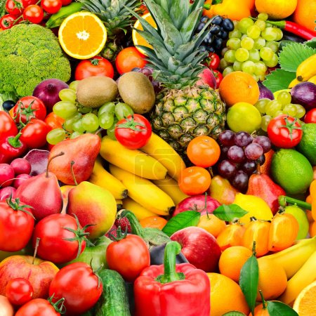 Photo for Large collection fruits and vegetables. Healthy foods. Top view - Royalty Free Image