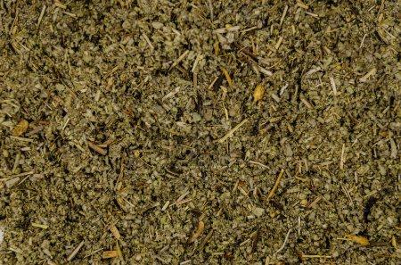Photo pour Sol sec de feuilles de sauge. Plantes médicinales de la forêt. Résumé historique des herbes médicinales séchées - image libre de droit