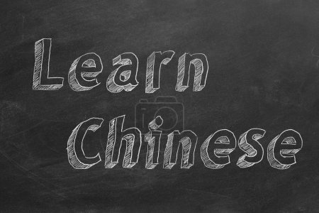 "Photo for Hand drawing ""Learn Chinese"" on blackboard - Royalty Free Image"