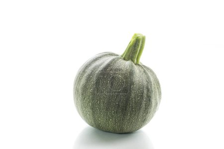 big round zucchini on white background - courgette