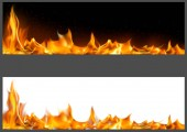 Realistic Fire Flames on Banners - Two Graphic Variants with Black and White Backgrounds Vector Illustration