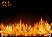 Realistic Fire Flames on Black Background - Detailed Illustration for Your Graphic Projects Vector