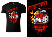 Black T-shirt Design with Motorcyclist and Inscriptions - Graphic Design for Printmaking T-shirt or Poster and etc Vector