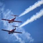 Royal Canadian Air Force Snowbirds demonstrating a...
