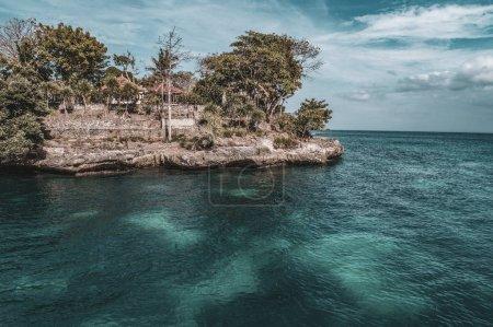 Aerial drone view coastline of beautiful Nusa Lembongan Bali, Indonesia