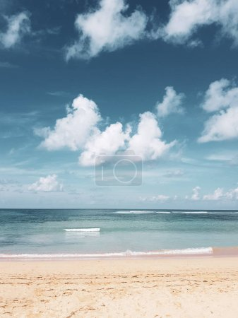 Beautiful empty sandy beach over beautiful ocean and summer cloudy sky background - vertical photo image