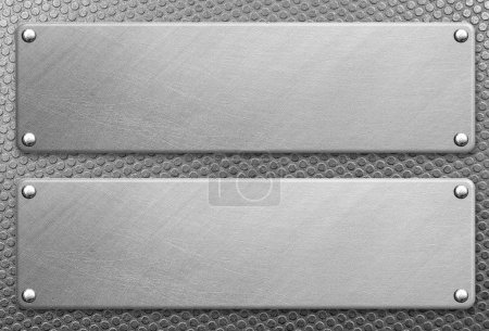 Photo for Stainless steel plate with rivets on metal background - Royalty Free Image