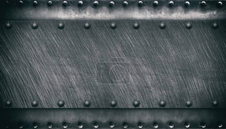 Photo for Old metal texture with rivets, steel background - Royalty Free Image