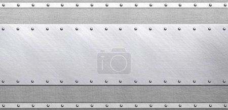 Texture métallique ancienne avec rivets, fond acier