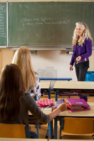 Photo for Female teacher in front of chalkboard in the classroom - Royalty Free Image