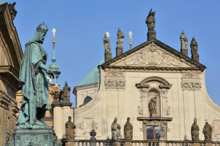 PRAGUE, CZECH REPUBLIC - May 4, 2018: Monument to Emperor Charles IV on the square of the Crusaders. View from Charles Bridge.