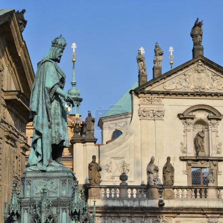 PRAGUE, CZECH REPUBLIC - May 4, 2018: Monument to Emperor Charles IV in the square near Charles Bridge.