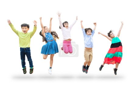 Photo for Happy kids jumping in air over white background - Royalty Free Image