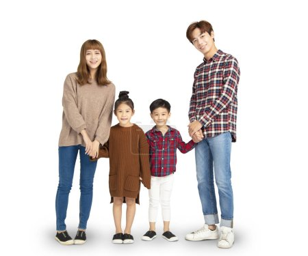 Photo for Asian family smiling and standing together - Royalty Free Image