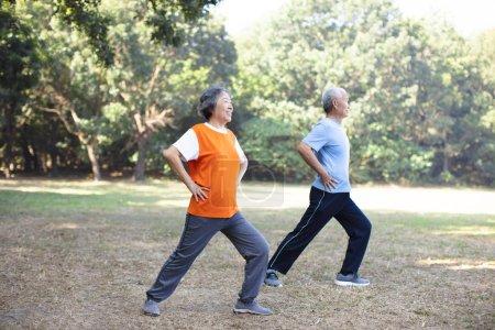 Photo pour Heureux couple aîné faisant de l'exercice dans le parc - image libre de droit
