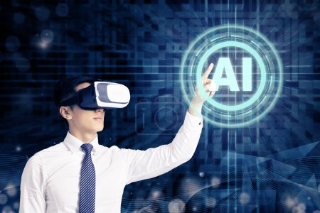 Photo for Businessman in VR glasses and pointing at glowing digital Artificial intelligence AI technology - Royalty Free Image
