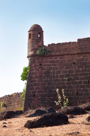 chpora fort tower goa india