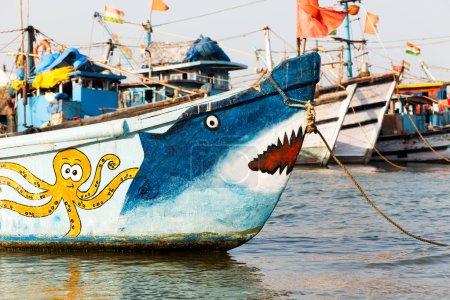 colorful fishing boats goa india