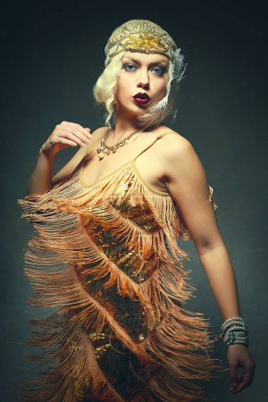 beautiful flapper woman dancing roaring 1920s