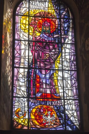 Kalwaria Zebrzydowska, Poland, 02 September 2018: A stained glass window depicting St. Stanislaus in the Marian and Passion Sanctuary in the church of St. Bernardine in Kalwaria Zebrzydowska near Cracow in Poland