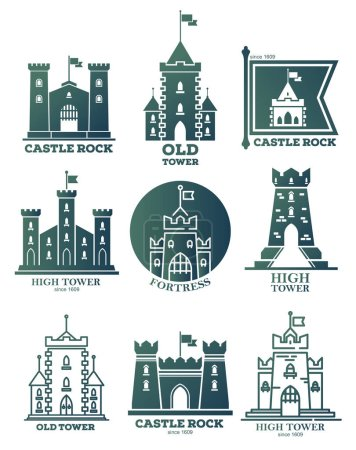 Logo with castle and towers at flags. Coat of arms