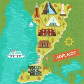 Adelaide landmarks on travel map Australian city