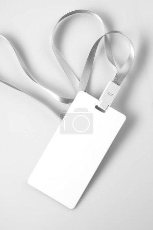 Photo pour Maquette de Badge Tag blanc cordon blanc - image libre de droit