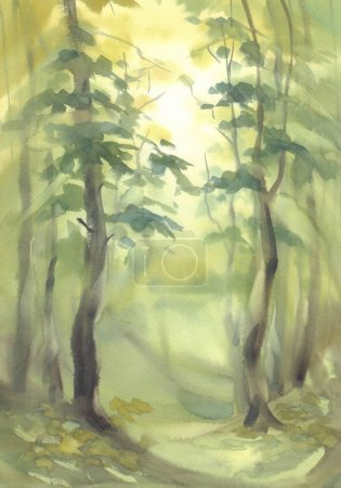spring forest in the green light watercolor background