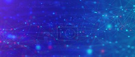 Photo pour Fond abstrait de structure de maillage scientifique avec points connectés et pixellisation. Communication globale, réseau neuronal, concept de Big Data - image libre de droit