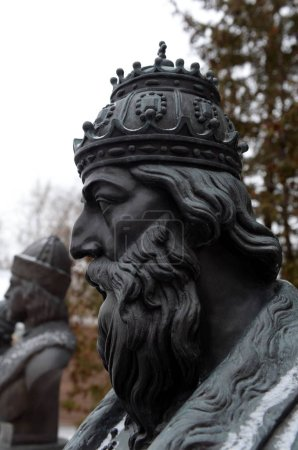 Photo for MOSCOW, RUSSIA - FEBRUARY 9, 2019:Bust of Tsar Ivan the terrible on the Avenue of Russian rulers in Moscow , sculptor Zurab Tsereteli - Royalty Free Image