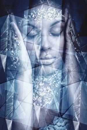 young black woman artistic fantasy portrait double exposure