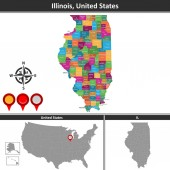 Vector map of Illinois with counties and location on US map