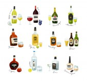 Mini bottles collection Alcohol drinks set in flat design style