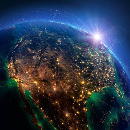 Photo pour Planète Terre avec relief détaillé est recouvert d'un réseau lumineux complexe de routes aériennes basées sur des données réelles. Mexique, États-Unis, Canada. rendu 3D. Éléments de cette image fournis par la NASA - image libre de droit