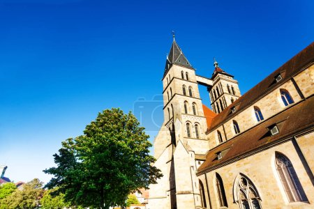 Photo for Low-angle view of Saint Dionysius church with its twin bell tower in Esslingen, Germany - Royalty Free Image