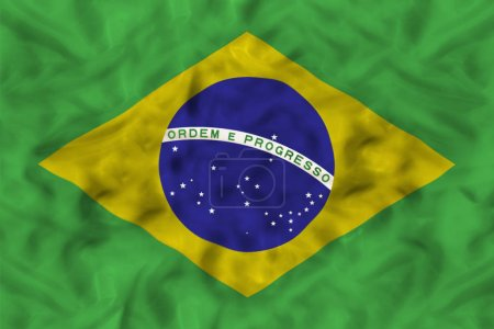 Brazil country independent state national flag banner close-up with waving fabric texture