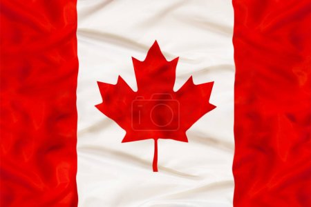 Canada country independent state national flag banner close-up with waving fabric texture